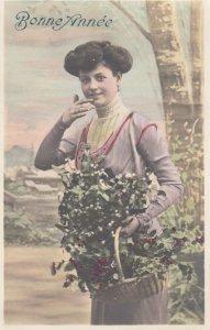 RP: Woman carrying basket of Holly & Mistletoe , Bonne Annee , 00-10s