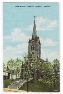 St Mary's Cathedral Lafayette Indiana postcard