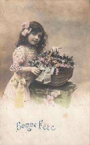 Children portraits early greetings postcard lovely girl with flowers