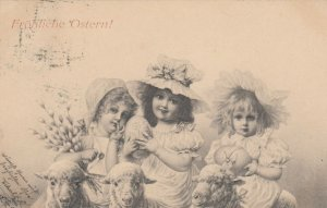 M.M.VIENNE, PU-1900 , 3 girls & Lambs , EASTER