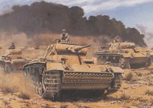 Arcoma Battle Of Gazala Tank Panzer II III Africa Korps WW2 Painting Postcard