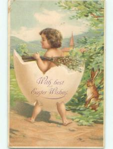 Pre-1907 easter BUNNY RABBIT LAUNCHES CHILD WEARING EGG SHELL k1943