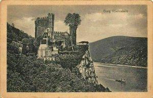 Burg Rheinstein Castle River Boat Postcard