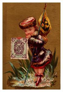 Russie  Stamp, Flag, Girl   Victorian Philatelic Trade Card