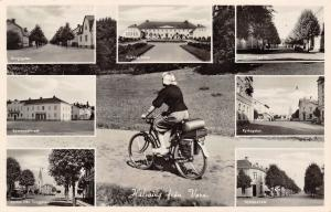 Vara Sweden~Multi Mini Vw~Woman Tours on Bicycle~Torggatan~Kyrkogatan~c1940 RPPC