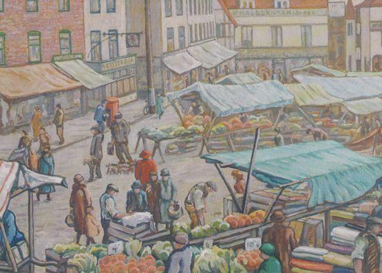 Fruit Grocery Market Trader Hitchin Hertfordshire in 1930 Painting Rare Postcard