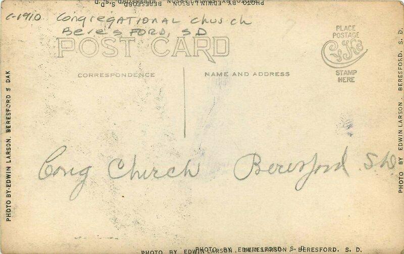Beresford South Dakota Congregational Church C-1910 RPPC Photo Postcard 3628