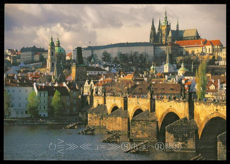 prague. the vitava river. charles bridge. the prague castle