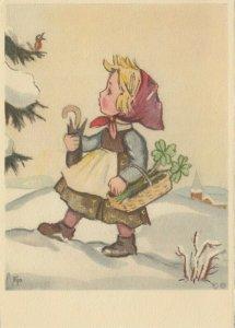 EJO : Girl walking in snow , 1920-30s