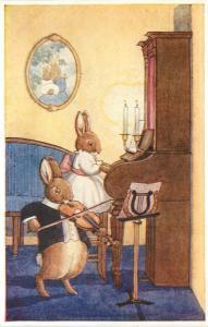 Medici Postcard 43/6266 Margaret Tempest, The Duet, Dressed Rabbits Violin Piano