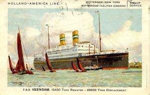 Holland-America Line - TSS Veendam   Artist: Dixon