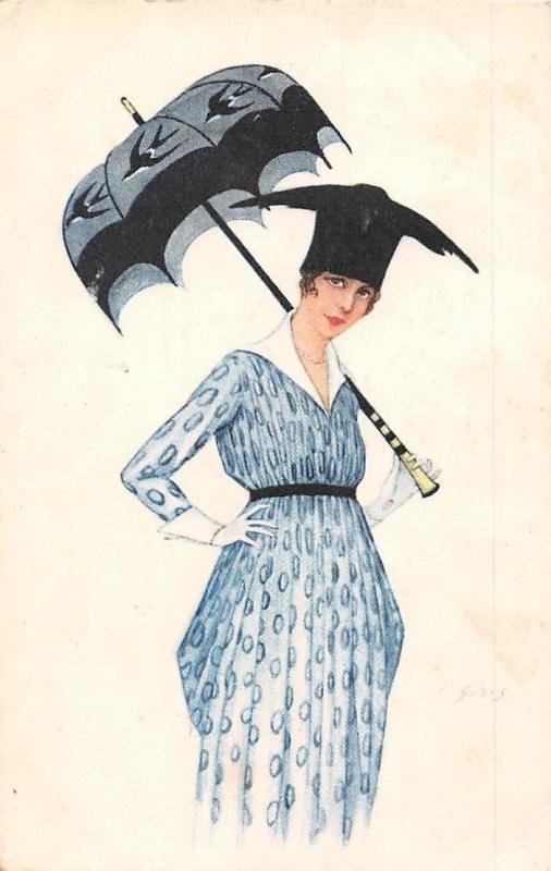 Fashion Lady Fancy Umbrella Dress Illustrator Ginis? Givis? Signed Postcard 1917