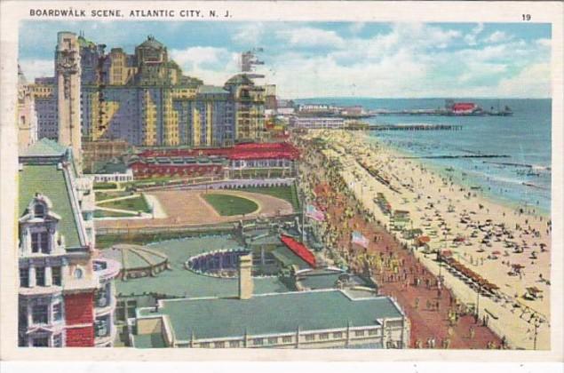 New Jersey Atlantic City Boardwalk Scene 1936