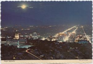 Night Splendor, Night view of Picturesque SALT LAKE CITY, UTAH, unused Postcard