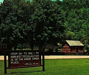 Knob Creek Place Sign & Flag Hodgenville Kentucky KY UNP Vtg Chrome Postcard