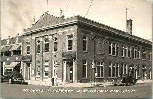 Vtg Cppr 1930s Ekc Burlington Wi Street Vue Ville Hall & Bibliothèque Voiture