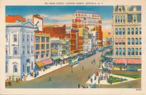 Main Street looking North at Buffalo NY, New York - pm 1953 - Linen