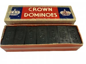 Vintage Crown Dominoes Set Of 28 The Embossing Co Made in USA Original Box Game