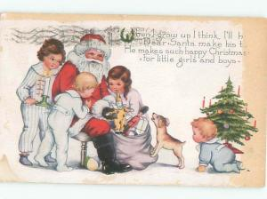 Pre-Linen Christmas DOG WATCHES SANTA CLAUS GIVE PRESENTS TO THE KIDS AB4517