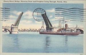 Ohio Toledo Cherry Street Bridge Showing Draw And Freighter Going Through 195...