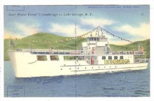 Steel Motor Vessel Ticonderoga on Lake George, New York, 30-40s