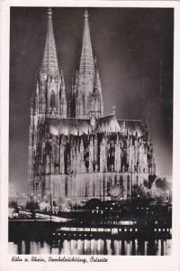 Germany Koeln Dom Dombeleuchtung Ostseite 1953 Real Photo