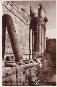 Baalbeck Baalbek Lebanon Ruins Colonne Penche Temple Real Photo Postcard