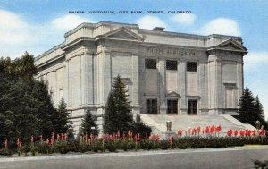 Vintage Linen c1930-45 USA Postcard Phipps Auditorium DENVER Colorado 40Z