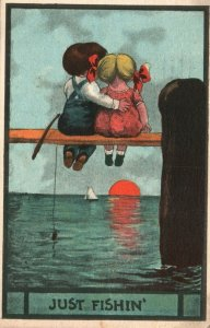 Vintage Postcard 1913 Young Girl and Boy Sitting Watching the Sunset Ocean Love