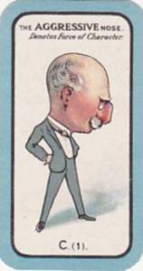 Carreras Small Vintage Cigarette Card The Nose Game No C1 The Aggressive Nose...