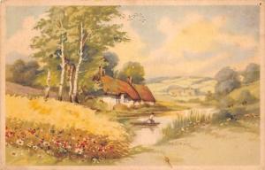 Countryside flowers field, houses, Boat, Scenery, Landscape (Belgium)