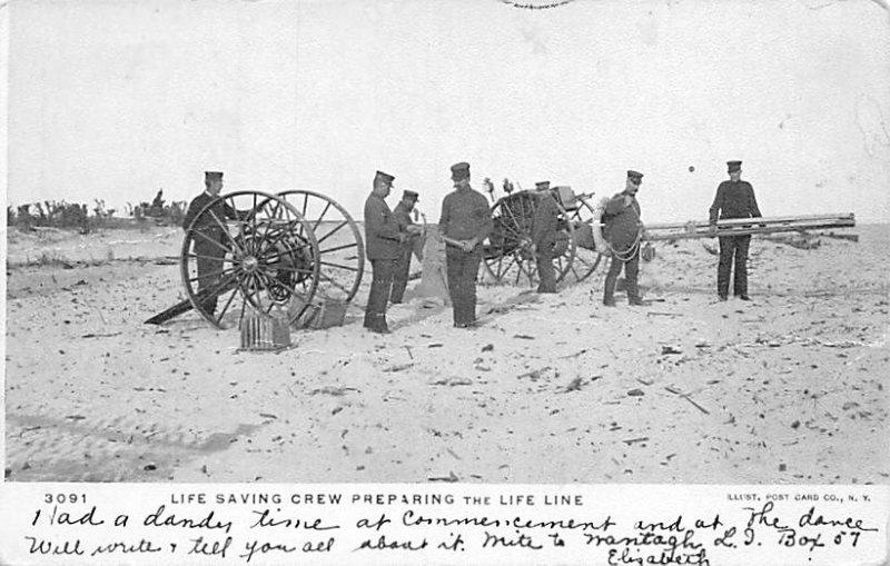 Occupation Post Card Life Saving Crew Preparing the Life Line 1908