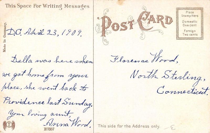 Putnam Connecticut~Elm Street Homes~Horse Buggies~1909 S&L Co Postcard