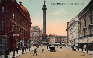 Grey's Monument, Newcastle-On-Tyne, England, early postcard, used
