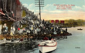 Vintage USA Postcard, c1907-15 Crowds Watching Race New London Connecticut 46Y