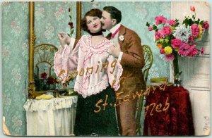 1908 Spooning in ST. EDWARD Nebraska Postcard Romance Greetings w/ Cancel