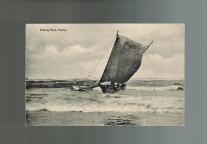 Mint Ceylon BW RPPC Real Picture Postcard Sailboat Fishing Boat at Sea