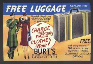 CLEVELAND OHIO BURT'S CLOTHING STORE ADVERTISING POSTCARD LUGGAGE IS FREE