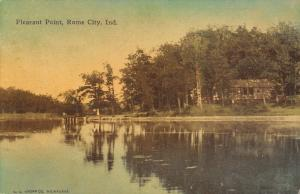 Rome City Indiana~Pleasant Point~Cabin and Dock~1912 Handcolored Postcard