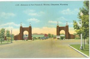 USA, Entrance to Fort Francis E. Warren, Cheyenne, Wyoming, 1930s-40s unused