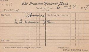 Franklin National Bank , FRANKLIN , New Hampshire , 1901-07 ; Receipt Postcard