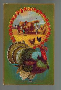 1910 Buffalo NY Embossed Postcard Cover Thanksgiving Turkey Harvest Stamford CT