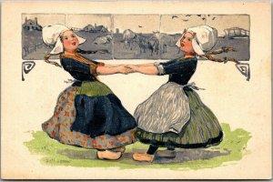 Vintage 1910s PFB Embossed Postcard Dutch Girls Dancing Series 3939 UNUSED