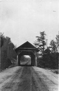 G45/ Mooers New York RPPC Postcard c1950s Covered Bridge