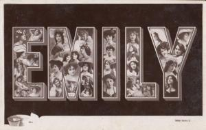 A Girls Named Called EMILY Antique Theatre Star Actress Images Name RPC Postcard