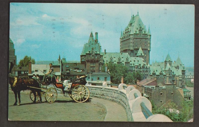 Caleche, Horses & Chateau Frontenac, Quebec - Used 1959 - Some Wear