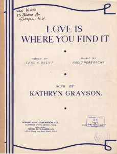 Love Is Where You Find It Kathryn Grayson Olde Sheet Music