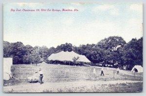 Hamilton Illinois~Wild Cat Springs~Big Tent For Chautauqua~Folks in Fence~1908