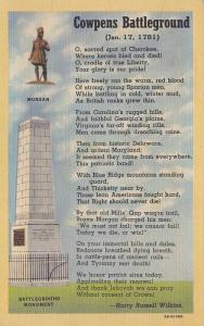 Cowpens Battlegorund, Morgan, Battleground Monument, Poem by Harry Russell Wi...