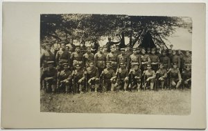 Old WWI Army Real Photo Postcard RPPC Company Formation Bay View Park Toledo, OH